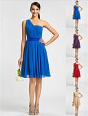Χαμηλού Κόστους Φορέματα Παρανύμφων-Γραμμή Α / Πριγκίπισσα Ένας Ώμος Μέχρι το γόνατο Σιφόν Φόρεμα Παρανύμφων με Που καλύπτει / Ζώνη / Κορδέλα / Πλαϊνό ντραπέ με LAN TING BRIDE®