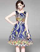 tanie Sukienki-Damskie Moda miejska / Wyrafinowany styl Szczupła Spodnie - Kwiaty Nadruk Niebieski / Święto