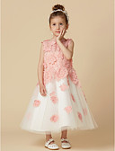 cheap Flower Girl Dresses-A-Line Knee Length Flower Girl Dress - Lace / Tulle Sleeveless Jewel Neck with Lace by LAN TING BRIDE®