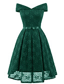 cheap Women's Dresses-Women's Going out Vintage Slim Swing Dress - Solid Colored High Waist Off Shoulder / Deep V / Spring / Summer / Lace