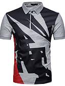 tanie Męskie koszule-Polo Męskie Moda miejska, Patchwork Bawełna Praca Kołnierzyk koszuli Szczupła - Geometric Shape / Kolorowy blok / Krótki rękaw