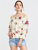 abordables Jerséis de Mujer-Mujer Sofisticado Blusa, Escote Barco Floral / Otoño