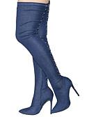 preiswerte Haben Sie eine Verabredung?-Damen Schuhe Denim Jeans Frühling / Herbst Modische Stiefel / Slouch Stiefel Stiefel Stöckelabsatz Spitze Zehe Übers Knie Schwarz /