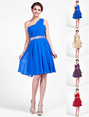 cheap Bridesmaid Dresses-A-Line / Princess One Shoulder Knee Length Chiffon Bridesmaid Dress with Beading / Draping / Side Draping by LAN TING BRIDE®