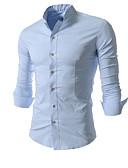tanie Męskie koszule-Koszula Męskie Podstawowy Bawełna Szczupła - Jendolity kolor / Długi rękaw
