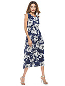 cheap Women's Dresses-Women's Street chic Slim Sheath Dress - Floral Maxi