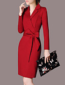 cheap Women's Shirts-Women's Plus Size Party / Work Street chic / Sophisticated Slim Bodycon Dress - Solid Colored Bow Shirt Collar / Sexy