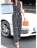 cheap Women's Jumpsuits & Rompers-Women's Daily / Work / Weekend V Neck White Black Wide Leg Jumpsuit, Stripes Print / Wrap L XL XXL Sleeveless Summer