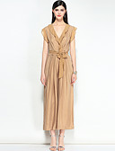 cheap Women's Jumpsuits & Rompers-MARY YAN&YU Women's Vintage Boho Slim Jumpsuit - Striped Solid Color, Ruffle V Neck
