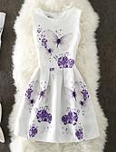 رخيصةأون فساتين للنساء-نسائي قطن نحيل بنطلون - ورد طباعة أبيض