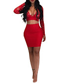 cheap Women's Two Piece Sets-Women's Plus Size Going out Cotton Slim Short Wrap - Solid Colored High Waist Skirt V Neck / Spring / Summer / Lace