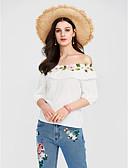 cheap Women's Blouses-Women's Going out Sophisticated Plus Size Cotton Blouse Print Boat Neck