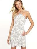 cheap Women's Dresses-Women's Club Cotton Skinny Bodycon Dress - Solid Colored Lace Backless Halter