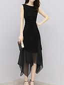 זול שמלות נשים-א-סימטרי רשת, אחיד - שמלה נדן מתוחכם סגנון רחוב בגדי ריקוד נשים