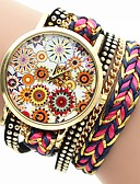 cheap Quartz Watches-Women's Fashion Watch Quartz Casual Watch PU Band Analog Flower Colorful Black / White / Blue - Fuchsia Red Green One Year Battery Life