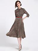 זול שמלות נשים-מידי דפוס, מופשט - שמלה גזרת A סווינג סגנון רחוב בוהו בגדי ריקוד נשים