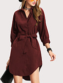 preiswerte Damen Kleider-Damen Street Schick Schlank Hülle Kleid - Schleife, Solide Asymmetrisch Hemdkragen