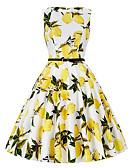 cheap Women's Skirts-Women's Holiday Cotton A Line Dress - Fruit Lemon U Neck / Summer