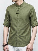 cheap Men's Shirts-Men's Linen Shirt - Solid Colored Standing Collar / Long Sleeve