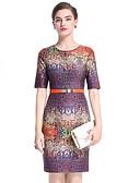 זול שמלות נשים-מעל הברך פרחוני - שמלה צינור בסיסי בגדי ריקוד נשים