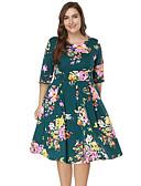 baratos Camisolas e Pijamas Femininos-Mulheres Tamanhos Grandes Feriado Moda de Rua Delgado Bainha Vestido Floral Altura dos Joelhos