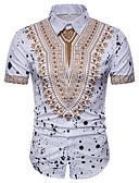 cheap Men's Shirts-Men's Plus Size Shirt - Tribal Print Spread Collar / Short Sleeve