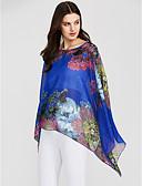 זול שמלות נשים-פרחוני גדול סגנון רחוב חולצה - בגדי ריקוד נשים דפוס שרוול עטלף / קיץ