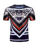 baratos Camisetas & Regatas Masculinas-Homens Camiseta Activo / Básico Estampado, Tribal Algodão Decote Redondo Delgado / Manga Curta