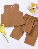 tanie Topy dla dziewczynek-Brzdąc Dla dziewczynek Jendolity kolor Bez rękawów Komplet odzieży / Urocza