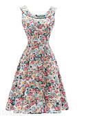 baratos Vestidos de Mulher-Mulheres Vintage / Moda de Rua Delgado balanço Vestido Floral Médio / Verão