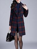 preiswerte Damenmäntel und Trenchcoats-Damen Plaid/Karomuster Freizeit Alltag Standard Mantel, Gekerbtes Revers Winter Herbst Polyester