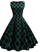 tanie W stylu vintage-Damskie Impreza / Praca Vintage / Moda miejska Swing Sukienka - Geometric Shape, Patchwork Midi / Lato