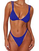 ieftine Bikini & Costume Baie 2017-Pentru femei Sportiv / De Bază Fără Bretele Albastru piscină Negru Roșu-aprins Bustieră Fașă Elastică Cheeky Bikini Costume de Baie - Mată M L XL