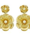 baratos Saias Femininas-Mulheres Brincos Compridos - Flor Fashion Dourado Para Presente / Encontro