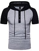 ieftine Maieu & Tricouri Bărbați-Bărbați Capișon Tricou Bumbac De Bază - Bloc Culoare Peteci / Manșon scurt