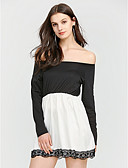 cheap Women's Two Piece Sets-Women's Street chic Puff Sleeve Sheath Dress - Patchwork, Backless Boat Neck