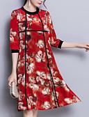 abordables Vestidos de Mujer-Mujer Tallas Grandes Seda Pantalones - Floral Rojo