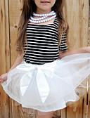 tanie Dziecięce Ozdoby do włosów-Sukienka Bawełna Dziewczyny Święta Bożego Narodzenia Urodziny Prążki Lato Krótki rękaw Urocza Na co dzień White