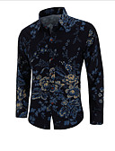 abordables Chemises pour Homme-Chemise Grandes Tailles Homme, Fleur Soirée Luxe / Rétro Vintage / Chinoiserie Noir XXL / Manches Longues