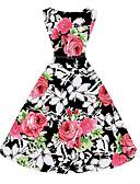 olcso Női ruhák-Női Szabadság Vintage A-vonalú Ruha - Nyomtatott, Virágos Térdig érő / Nyár