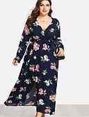 baratos Vestidos Femininos-Mulheres Tamanhos Grandes Bainha Vestido - Estampado, Floral Decote em V Profundo Médio