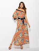 tanie Print Dresses-Damskie Plaża Boho Szyfon Sukienka - Kwiaty, Rozcięcie Nadruk Na jedno ramię Maxi / Wzory kwiatów