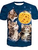 abordables Camisetas y Tops de Hombre-Hombre Chic de Calle Estampado Camiseta, Escote Redondo Animal Gato / Manga Corta