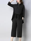 cheap Women's Two Piece Sets-Women's Plus Size Basic Shirt - Striped, Print Pant Shirt Collar