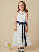 cheap Flower Girl Dresses-A-Line Knee Length Flower Girl Dress - Chiffon Sleeveless Jewel Neck with Bow(s) / Lace / Sash / Ribbon by LAN TING BRIDE®