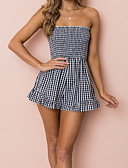 cheap Women's Jumpsuits & Rompers-Women's Basic Romper - Check, Backless