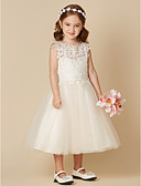 cheap Flower Girl Dresses-A-Line Tea Length Flower Girl Dress - Lace / Tulle Sleeveless Jewel Neck with Lace by LAN TING BRIDE®