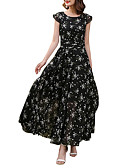 ieftine Regina Vintage-Pentru femei Mărime Plus Size Concediu / Ieșire Șic Stradă Zvelt Șifon / Swing Rochie - Imprimeu, Floral Talie Înaltă Maxi