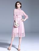 זול שמלות נשים-מידי תחרה, אחיד - שמלה גזרת A בסיסי סגנון רחוב בגדי ריקוד נשים