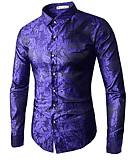abordables Camisas de Hombre-Hombre Lujo / Tejido Oriental Tallas Grandes Camisa Floral / Manga Larga